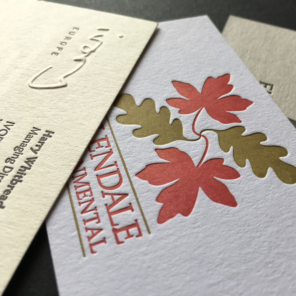 Letterpress business cards for corporate stationery.