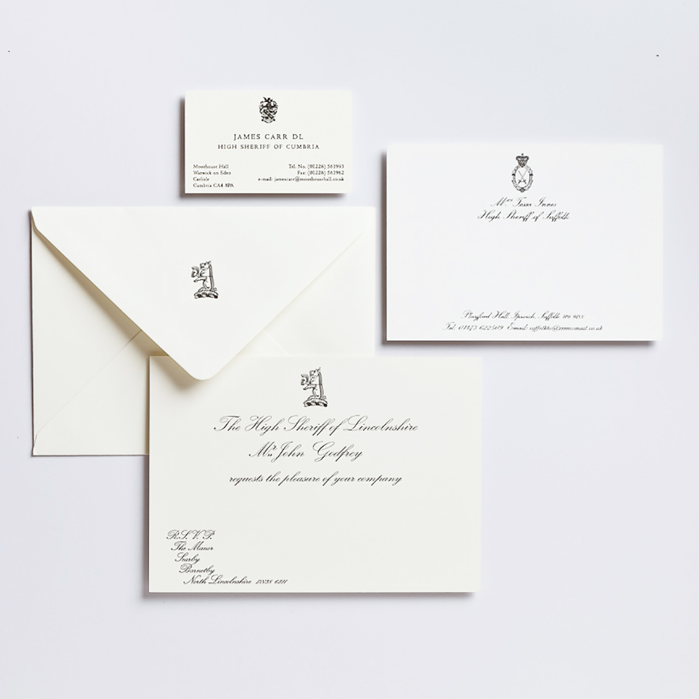 A selection of High Sheriff and Lord-Lieutenant invitations.