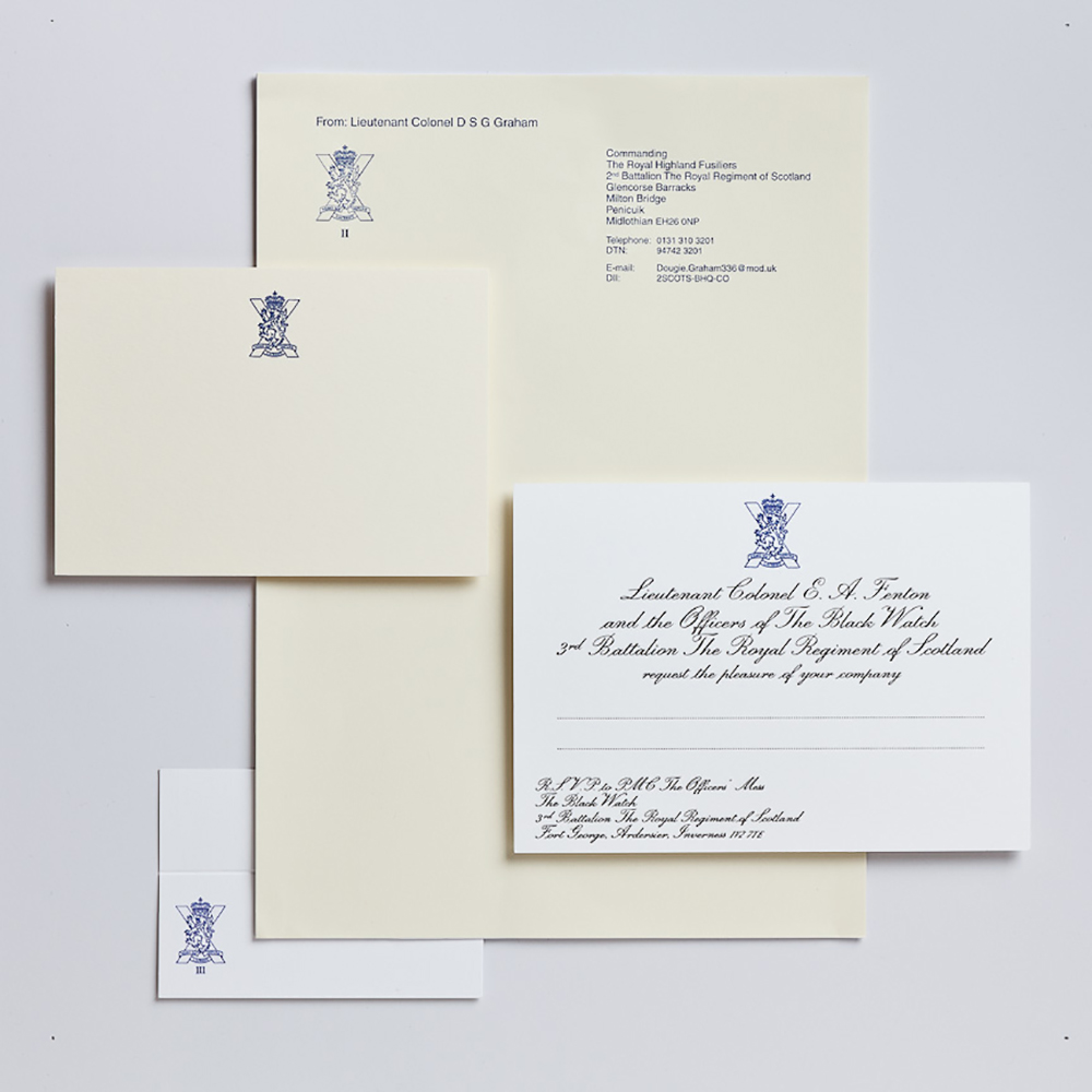 A selection of regimental stationery printed by Piccolo press.