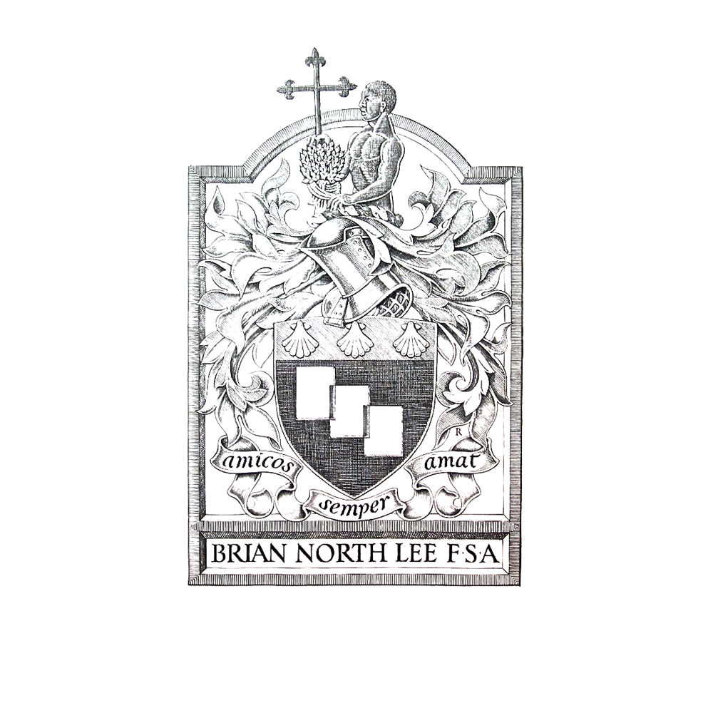 This was Brian North Lee's bookplate. We were very privileged to diestamp this beautiful bookplate for the past Secretary of the Bookplate Society and  renouned Bookplate Historian.