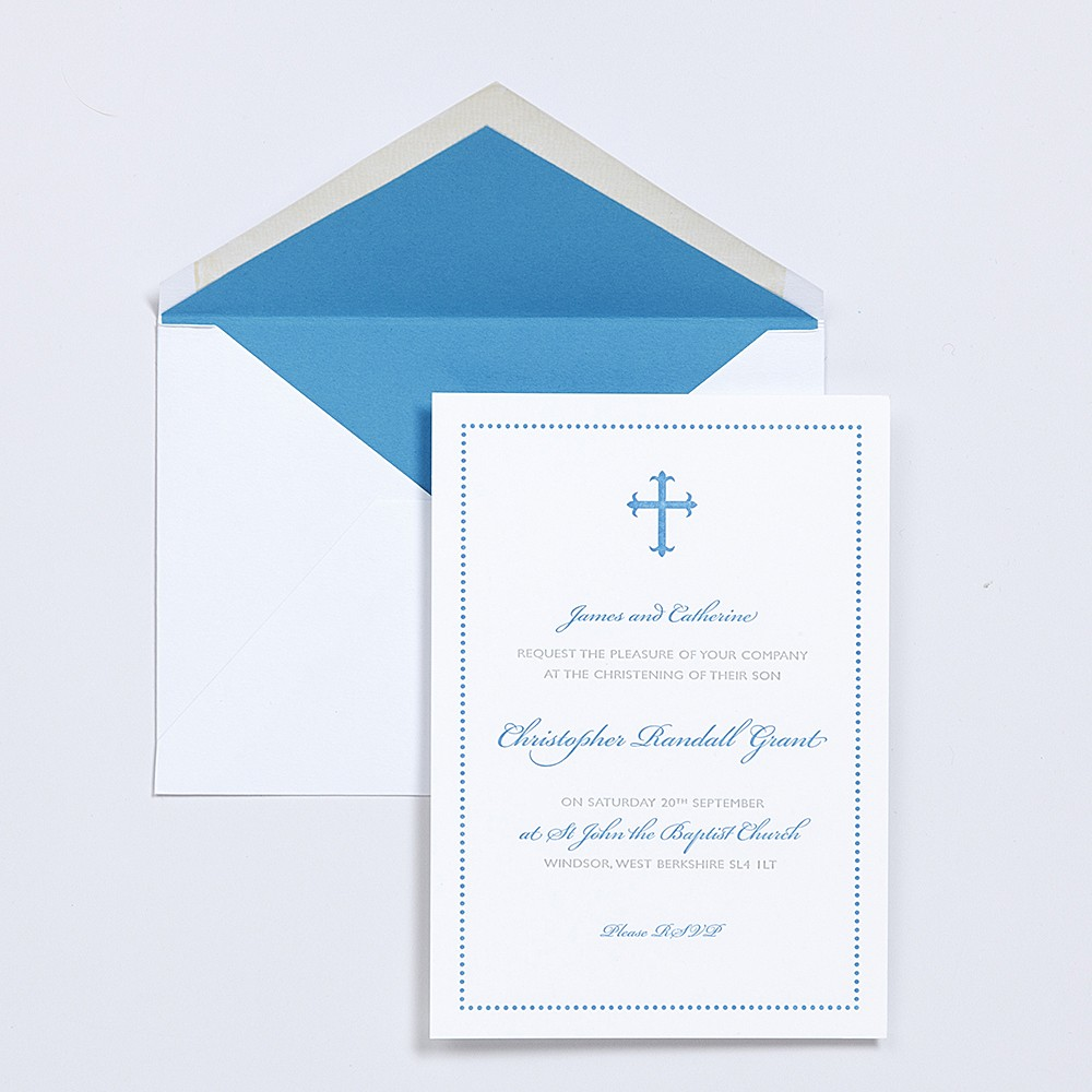 Christening invitation for personal stationery with lined envelopes.
