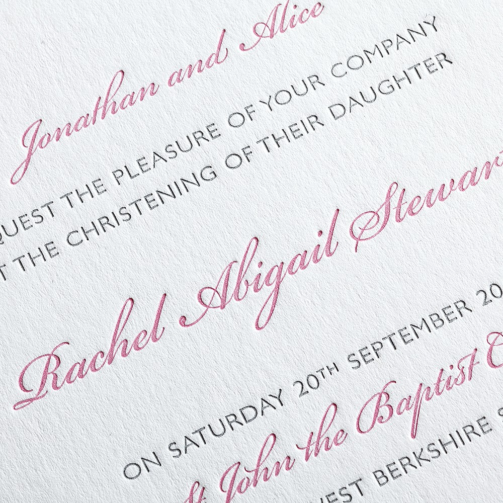 Christening invitation, letterpress printed in two colours.