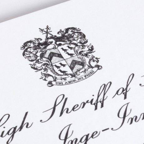 High Sheriff and Lord-Lieutenant invitation, engraved