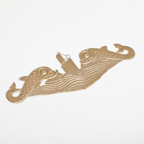A close up of the Dolphin Pin engraving for the United States Navy stationery.