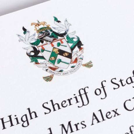 High Sheriff of Staffordshire invitation with four colour diestamped crest.