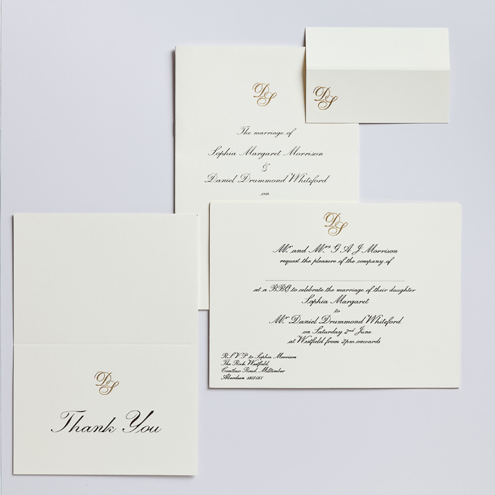 "7x5"" Wedding reception invitation, engraved with gold monogram."