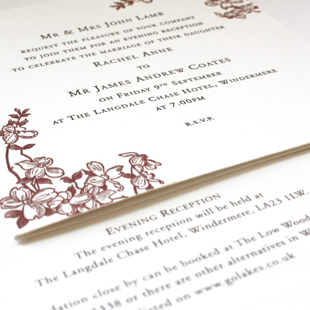"7x5"" Wedding reception invitation with evening reception invitation"