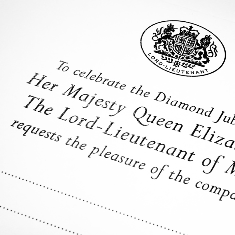 High Sheriff and Lord-Lieutenant invitation, thermographed in black ink.