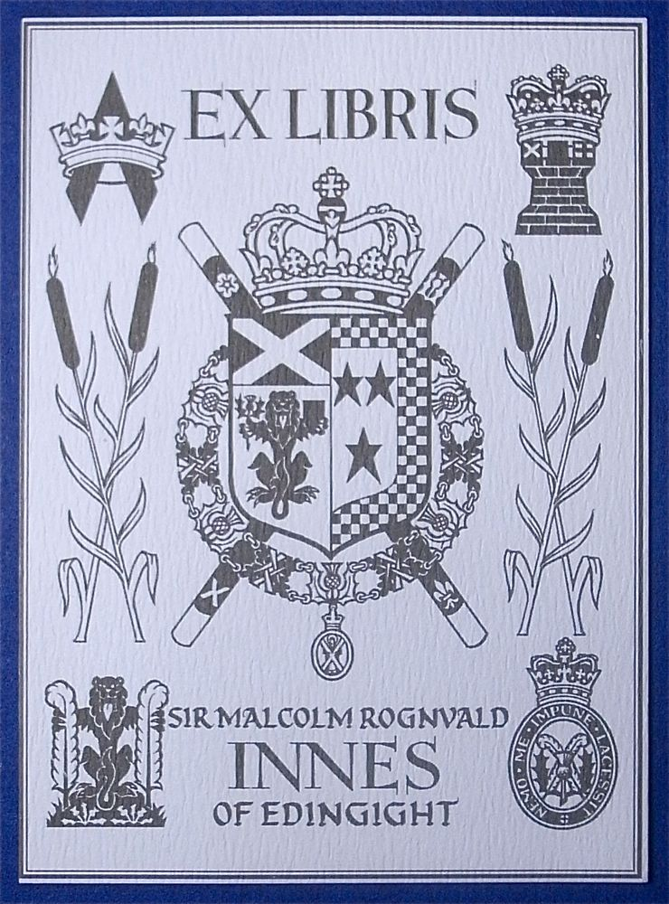 Bookplate that is litho printed on plain laid paper. No gum backing