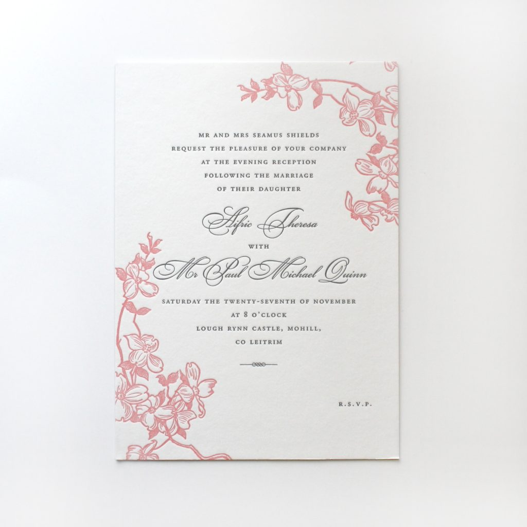 "8x6"" Wedding reception invitation, letterpress in two colours."