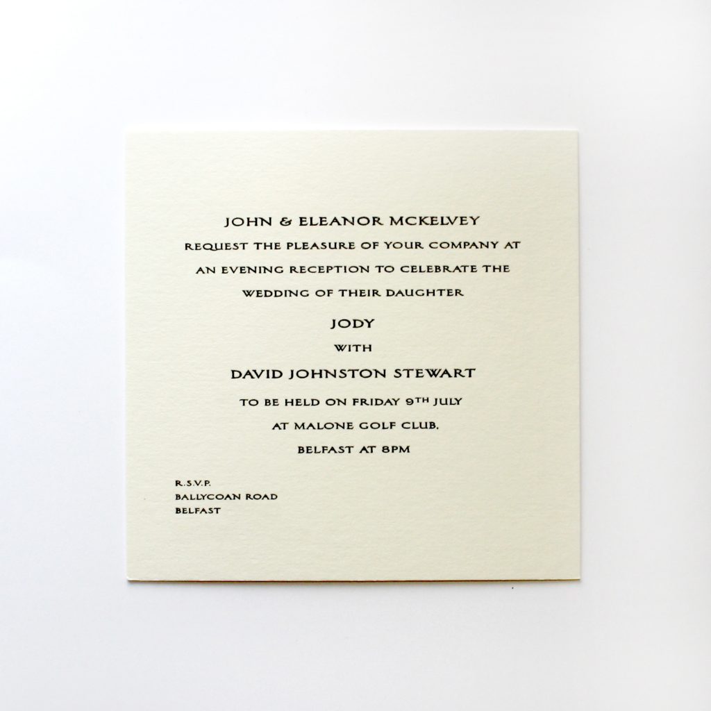 Square wedding reception invitation, thermographed in black ink.