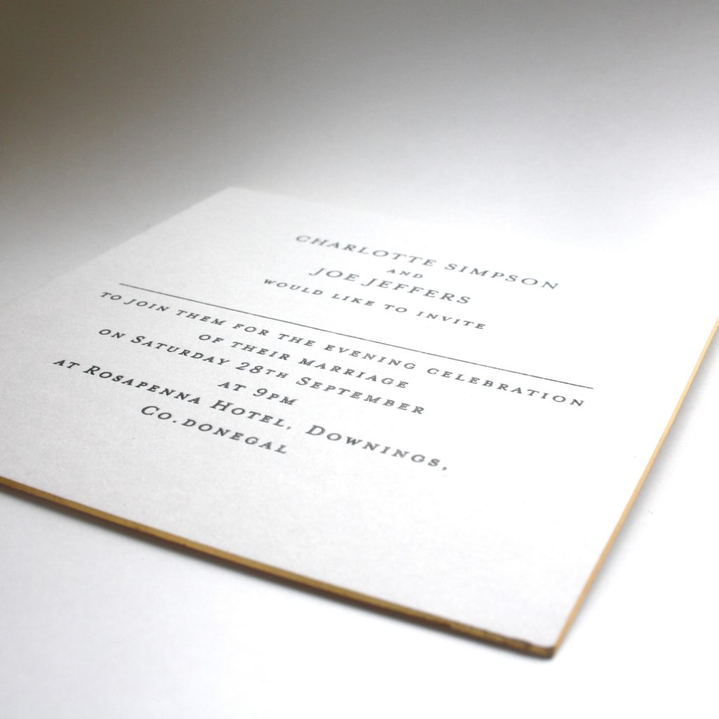 "7x5"" Wedding reception invitation, engraved with gilt edges."