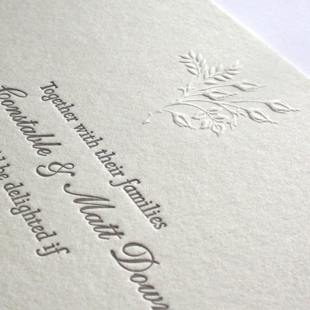Wedding reception invitation, letterpress with blind embossed motif