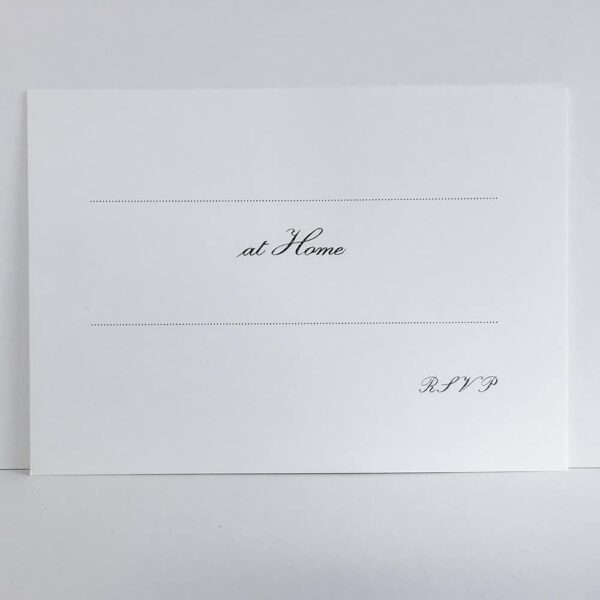 Thermographed 'At Home' cards – with lines