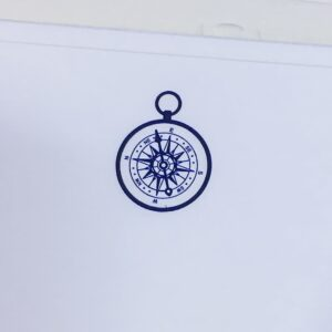 Compass motif – blue engraved correspondence cards