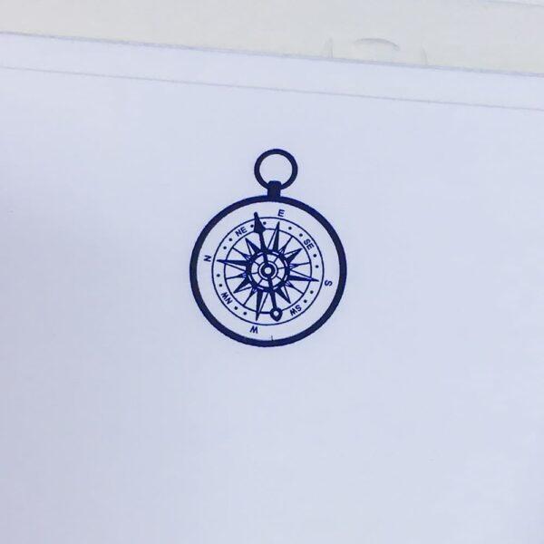 Compass motif – blue engraved correspondence cards