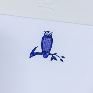 owl motif – engraved correspondence cards
