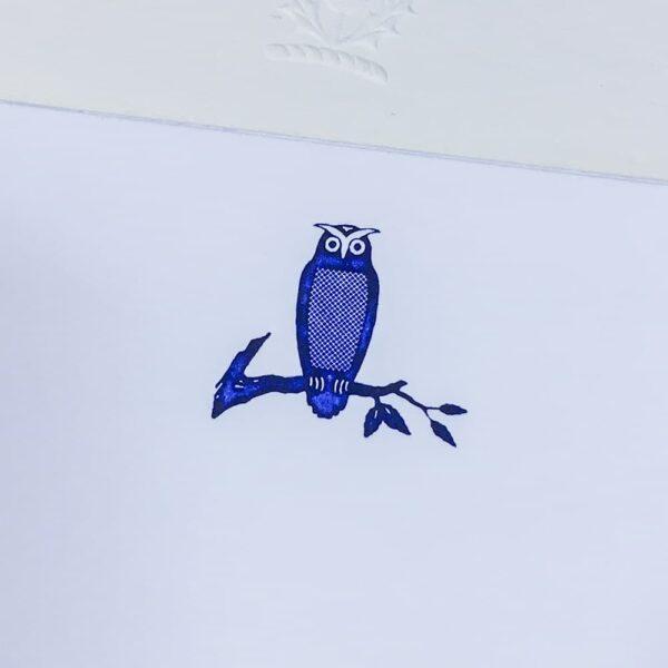 owl motif – engraved correspondence cards