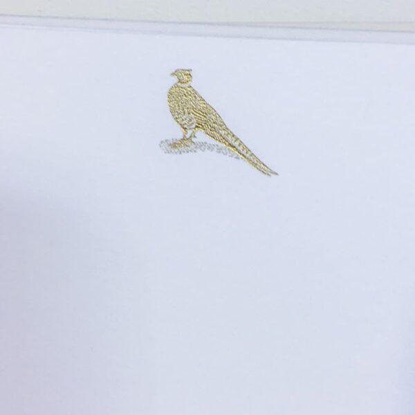 Pheasant motif – fgold engraved correspondence cards