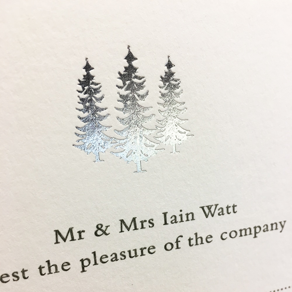 Foiled invitation for wedding stationery or personal stationery.
