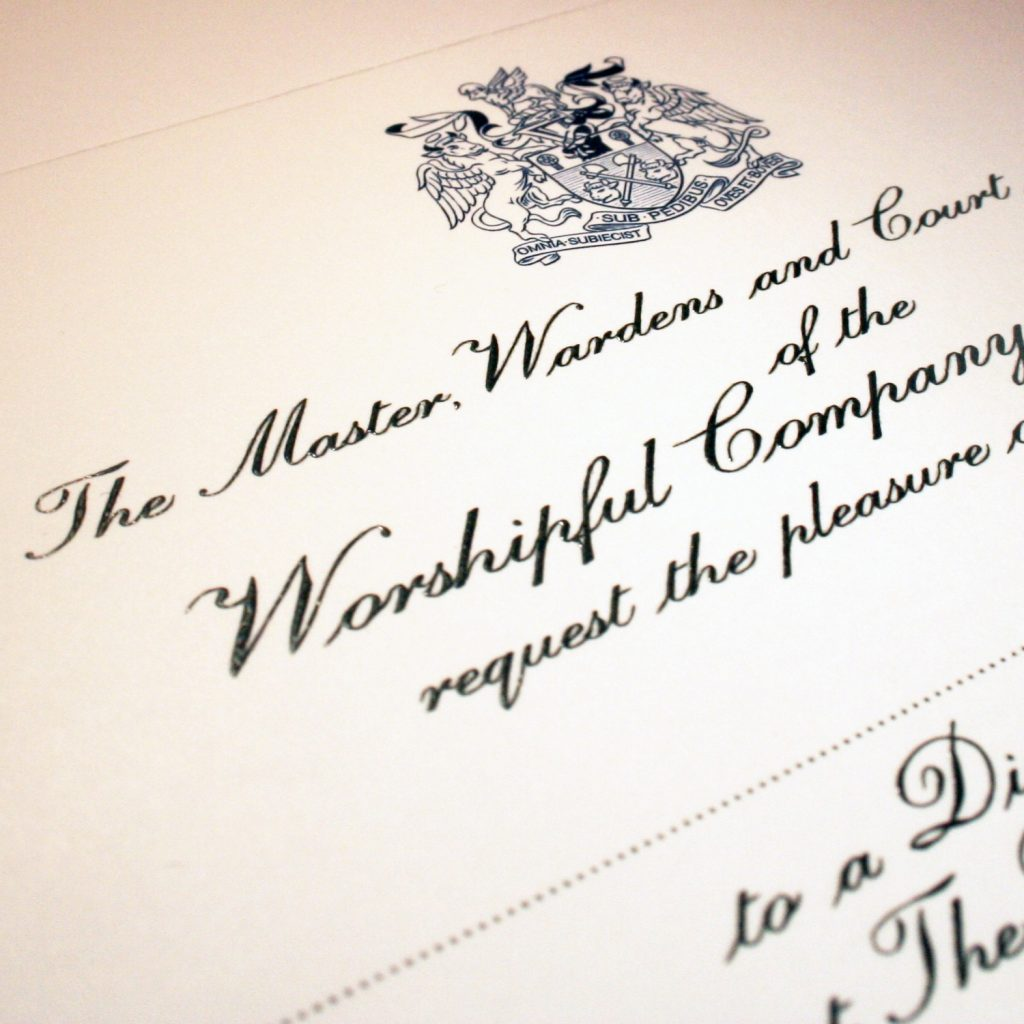 Livery company invitations printed for ceremonial stationery.